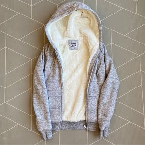 TNA Grey Zip Hoodie With Faux Fur Lining XS